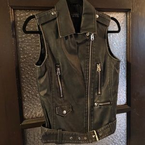 'Sylvia' Faux Leather Moto Vest from TopShop